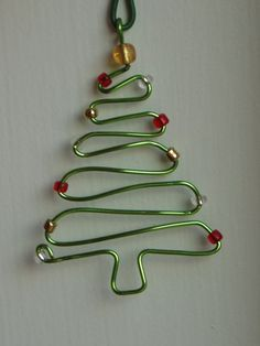 Handmade wire Christmas Tree ornament - I want one in silver with red beads...