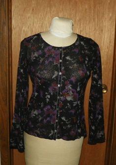 Elements Ladies Black/blue Floral Print Ss Blouse/skirt Outfit Sz Xl Euc Mixed Items & Lots