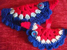 Pair of handmade crochet jubilee hanging decorative birds  http://www.etsy.com/shop/threadsnshreds