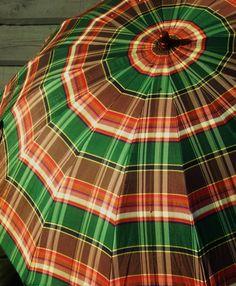 Vintage Tartan Umbrella- unusual colors.