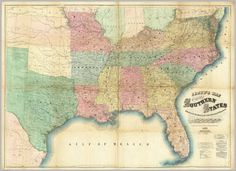 """Lloyd's Map Of The Southern States. / Lloyd, J.T. / 1861.  Check out the entire David Rumsey Historical Map Collection at www.davidrumsey.com, """"a large collection of online antique, rare, old, and historical maps, atlases, globes, charts, and other cartographic items."""""""