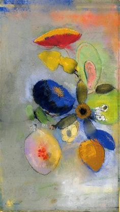 Flowers by Odilon Redon. Symbolism. flower painting. Private Collection