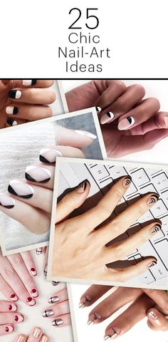25 Chic Nail-Art Ideas: We've seen our fair share of cheesy nail-art designs and flashy patterns. But when it's done well, nail art can look both sophisticated and modern. Ahead, we culled 25 of our favorite nail-art ideas so you can bring them straight to your manicurist. | allure.com