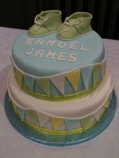 Boy's christening cake Christening Cake Boy, Baby Cakes, Homemade Cakes, Desserts, Food, Conch Fritters, Tailgate Desserts, Deserts, Eten