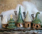 pottery gnome houses! set of three for $40 on etsy