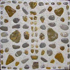 Tuintegel met natuurstenen in cement