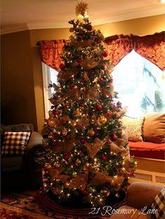de navidad con cinta de arpillera o tela de yute la caleita