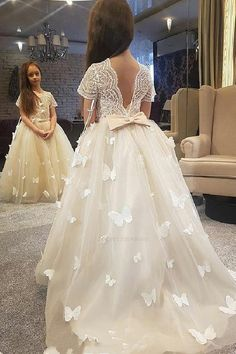 On Sale Engrossing Ivory Bridesmaid Dresses Princess Ivory Long Flower Girl Dress With Cap Sleeves Ivory Flower Girl Dresses, Bridesmaid Dresses, Flower Girl Dresses Long #Bridesmaid #Dresses #Flower #Girl #Long #Ivory Bridesmaid Dresses 2019