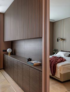 Pomegranate Apartment by ARCH(E)TYPE. Panelled room divider in this contemporary bedroom Modern Bedroom Design, Contemporary Bedroom, Bedroom Designs, Interior Modern, Modern Decor, Modern Rustic, Modern Contemporary, Modern Bedrooms, Contemporary Apartment