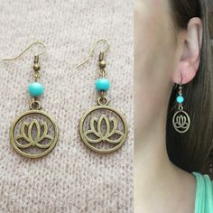 Lotus Flower Earrings, Yoga Earrings