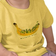 Four cute cartoon green monkeys in a banana = Monkey Peas!  Can be Personalized/ any style shirt.