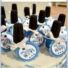"""Baby Shower Idea! Use pink or blue nail polish and add tags with the sayings """"Boy oh Boy!"""" or """"Pretty in Pink!"""""""