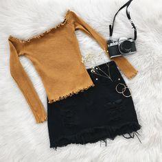 ✨Selina Top in Dijon & Lana Denim Skirt✨ Shop new arrivals at Frankie-Phoenix.com #skirt #denim #fall #ootd #fashion
