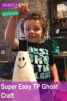 We're just rollin' out the Halloween crafts like crazy over here! Cocoa Puff and I made a really sweet ghost craft using only a few supplies I already had around the house. It didn't take very long and it pretty much cost nothing to make. Here is the tutorial straight from Cocoa Puff himself with a little help from Mama. #halloween #craft #mamawritesreviews #halloweencrafts #ghost #ghostcraft #preschoolcrafts #toddlercrafts #craftsforkids