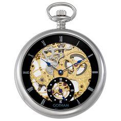 Gotham Men's Silver-Tone Mechanical Pocket Watch with Desktop Stand # Skeleton Pocket Watch, Mechanical Pocket Watch, Quartz Pocket Watch, Steampunk Watch, Grandfather Clock, Watch Companies, Silver Man, Gotham, Jewels