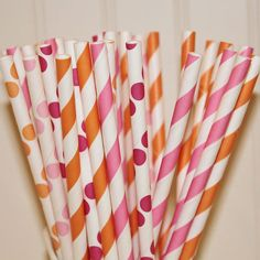 Paper Straws, 30 PINK and ORANGE GIRLY Party Paper Straw Assortment with Diy Straw Flag, Party Supplies,Baby Shower, Princess Parties
