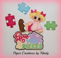 Elite4u Mindy Valentines Love girl premade paper piecing for scrapbook page