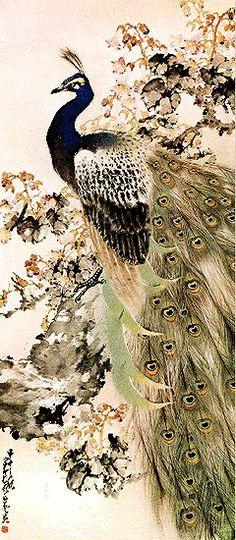 Peacock - by Chao ShaoAng (1905 - 1998), China. Lingnan School.