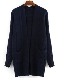 Shop Pockets Long Navy Coat at ROMWE, discover more fashion styles online. Navy Coat, Long Winter Coats, Navy Fabric, Blue Coats, Sweater Cardigan, My Style, Pockets, Long Sleeve, Sleeves