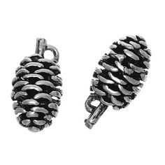 2 Silver Pine Cone Charms Fancy Larger by OverstockBeadSupply