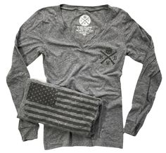 American made long sleeve v-neck with the logo printed on the left chest and Old Glory on the back. Printed on a triblend long sleeve t shirt. Made in the U.S.A