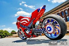 "Single side swing arm with custom paint to match the ""Captain America"" bike."