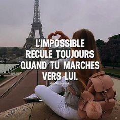 L'impossible recule toujours quand tu marches vers lui. Tu aimes? Fais le nous savoir, suis et partage avec tes amis! ➡️ @adillaresh for inspirational quotes!