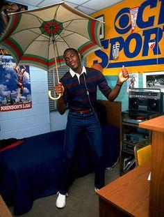 Micheal Jordan in his dorm room.