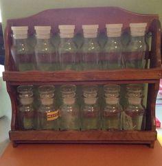 Vintage Spice Rack Kitchen Wood Wooden Two Shelf  w/12 Jars/Bottles Lid Stoppers Liquor Cabinet, Cabinets, Jar, Shelves, Vintage, Bottle, Wood, Home Decor, Closets
