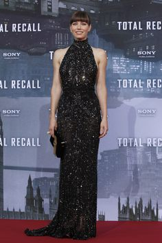 Jessica Biel In Elie Saab  The actress looks statuesque in this gown. This beaded dress shows off her shoulders without revealing too much skin.