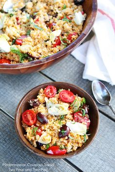 Mediterranean Couscous Salad on twopeasandtheirpod.com -- had this at BUNCO.. it was amazing!!