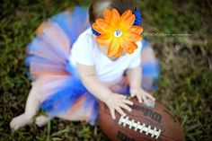 Gator TUTU for Baby in Orange and Blue with Flower Headband - Newborn to 2T - Birth Announcements, 1st Birthday, Shower Gift, Football Games by TutuCaChu on Etsy