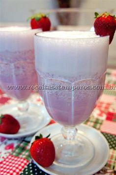 Suco de Morango com leite | Receitas e Temperos