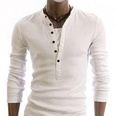 Men's Fashion: White Long-sleeved Henley Shirt