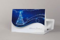 Personalise our corporate Christmas cards with your company name printed on the front of the cards to add impact branding and enhance your Company's image. Corporate Christmas Cards, Company Christmas Cards, Charity Christmas Cards, Personalised Christmas Cards, Gold Christmas Tree, Beach Christmas, Christmas Baubles, Holographic Foil, Dark Blue Background