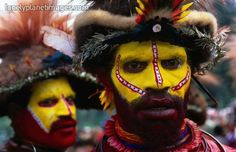 Portrait of men from Egele tribe in face paint at Enga Cultural show