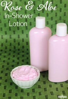 """Rose and Aloe In-Shower Lotion. In-shower lotion is like a conditioner for the skin. The product is applied while in the shower and is lightly rinsed off. It's a great alternative for those who do not like the """"sticky"""" feel of lotion before it absorbs."""