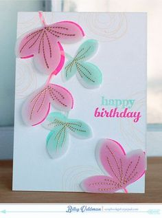 Birthday Leaves Card by Betsy Veldman for Papertrey Ink (February 2014)