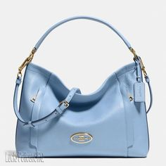 COACH 34312 SCOUT HOBO IN PEBBLE LEATHER Light Gold/Pale Blue NWT #Coach #Hobo