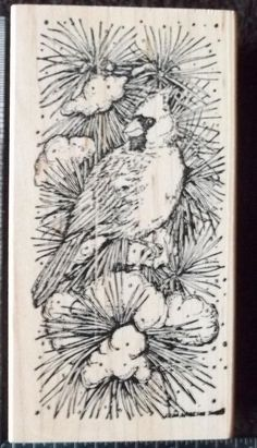 Northwoods CARDINAL in SNOW Christmas Rubber Stamp Wood Mounted WINTER #Northwoods