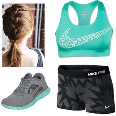 Nike Pro Workout Training Clothes. Love this french braid!