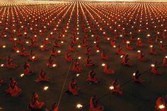 40,000 Thai monks in prayer. Amazing photo by Luke Duggleby.