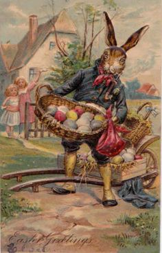 1907 Fantasy Dressed Rabbit Easter Card