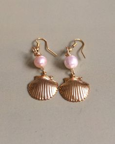 Bridal Pearl and Shell Earrings by joytoyou41 on Etsy, $18.00