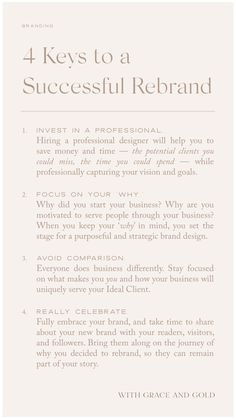 Today, we're excited to share 4 keys to a successful rebrand. In other words: How can someone make the most of the rebranding process? Social Media Marketing Business, Branding Your Business, Business Advice, Creative Business, Business Planner, Corporate Branding, Logo Branding, Online Business, Branding Process