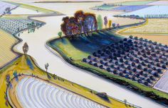 Wayne Thiebaud Flatland River | When I see his wonderful landscape paintings the quilter in me envisions something similar with fabric-filled spaces and decorative thread sketching.