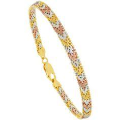 Sterling Silver Italian Tri-color Riccio Bracelet 5-Row 3/16 inch wide, 8 inch Sabrina Silver. $72.64