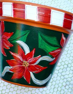 Hand Painted Pot 6 Inch Holiday Sparkle Made to by ThePaintedPine, $28.00