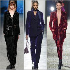 Trendy Fashion for FW 2016: Velvet Pantsuit. Alberta Ferretti, Bottega Veneta, and Haider Ackermann Fall Winter 2016.