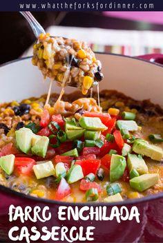 Farro Enchilada Casserole - Vegan/Vegetarian casserole.